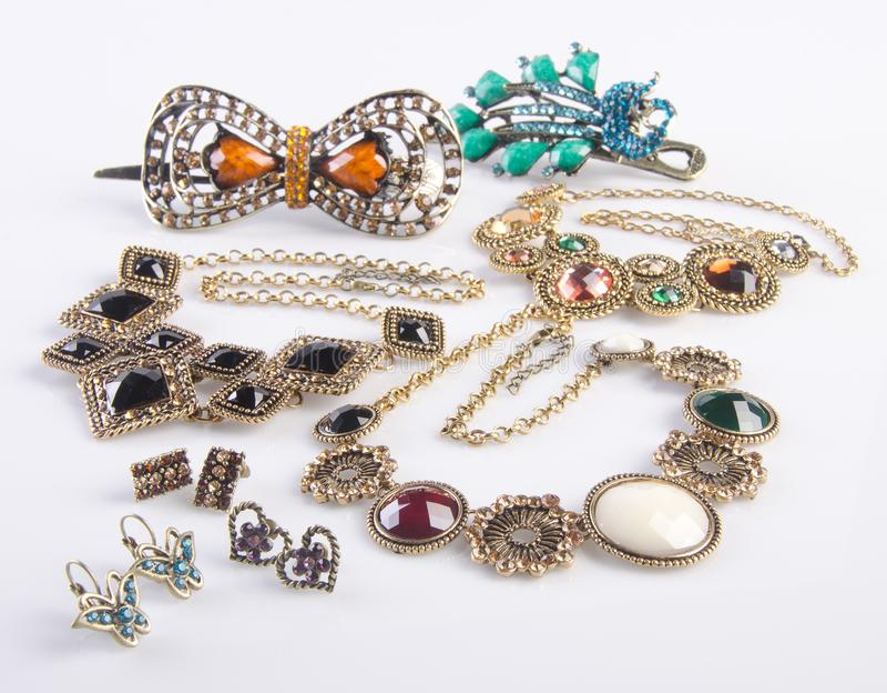 Collection de bijoux collection de bijoux sur le fond photo libre de droits