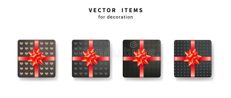 Collection de boîte-cadeau noir avec le modèle et d'arcs rouges brillants avec des rubans illustration stock