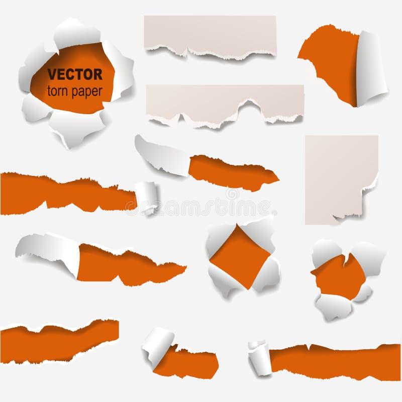 Collection de bords déchirés d'une illustration de vecteur de papier de trou illustration stock