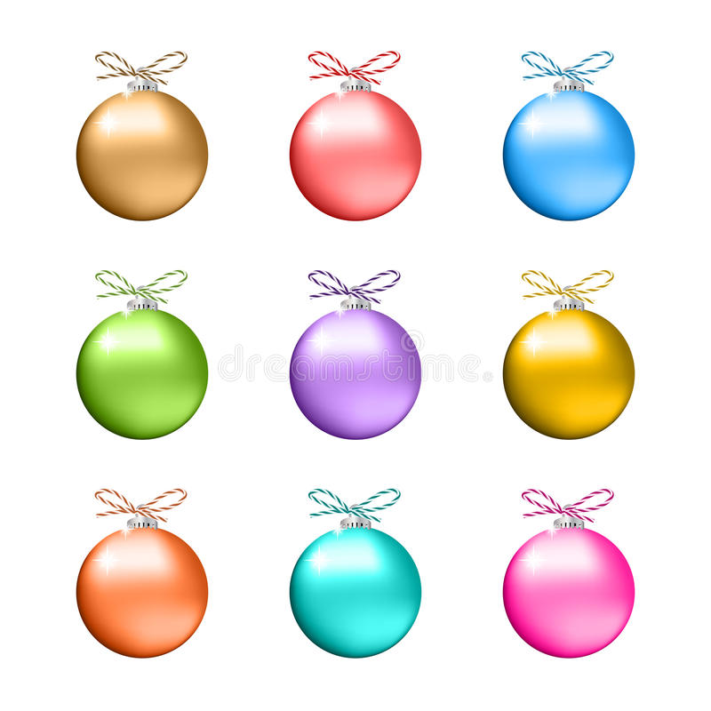 Collection de boules multicolores de Noël illustration stock