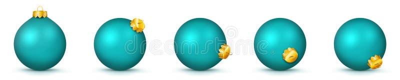 Collection de boules de Noël dans la couleur de turquoise - ensemble de babiole de panorama de vecteur illustration stock