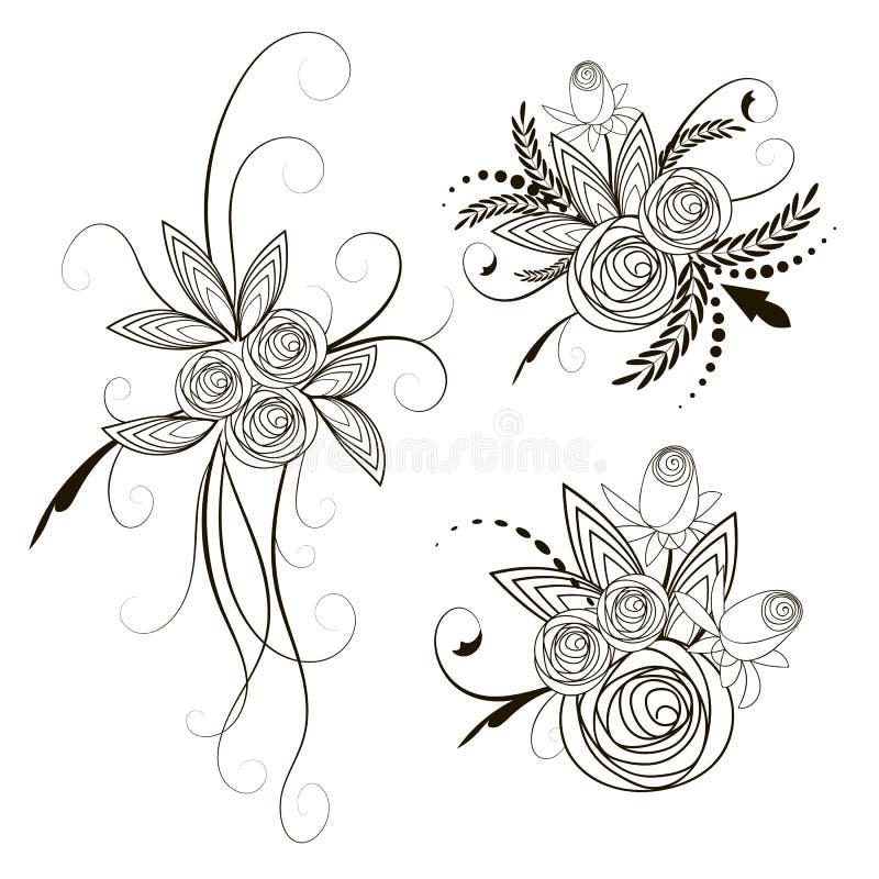 Collection de bouquets de roses illustration libre de droits