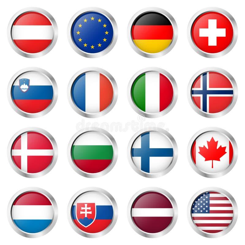collection de bouton avec des drapeaux de pays illustration stock