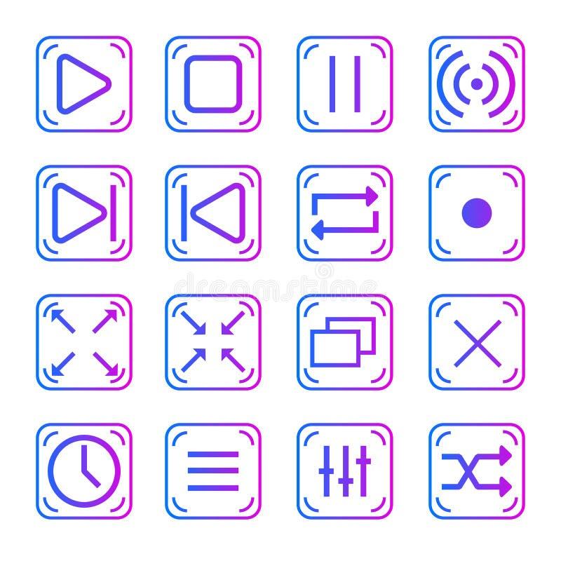 Collection de boutons de joueur pour le Web illustration stock