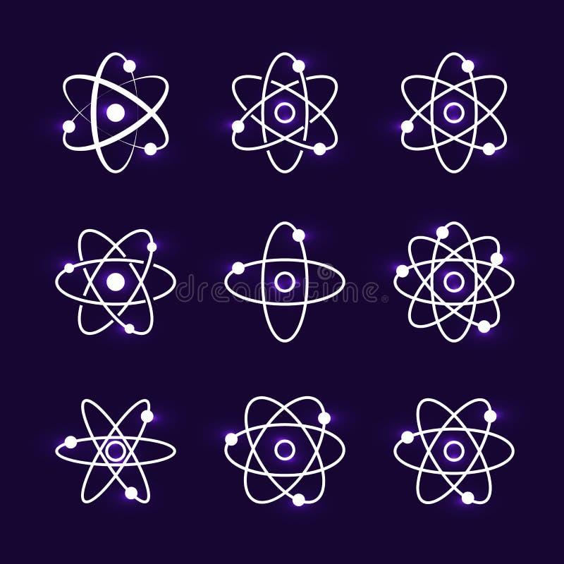 Collection de briller les structures atomiques illustration de vecteur