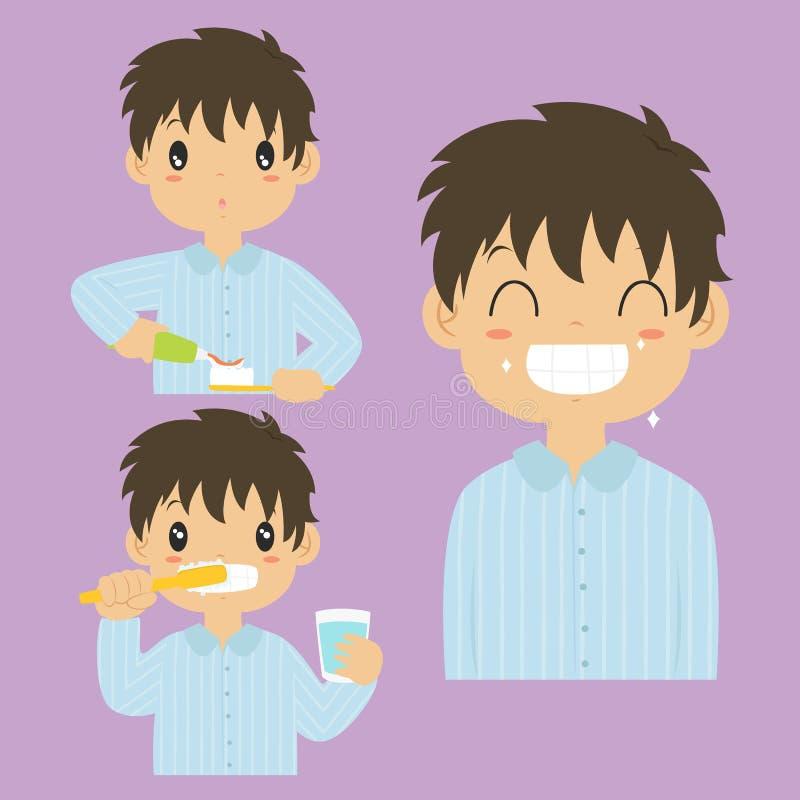 Collection de brossage de vecteur d'activité de dents de garçon illustration de vecteur