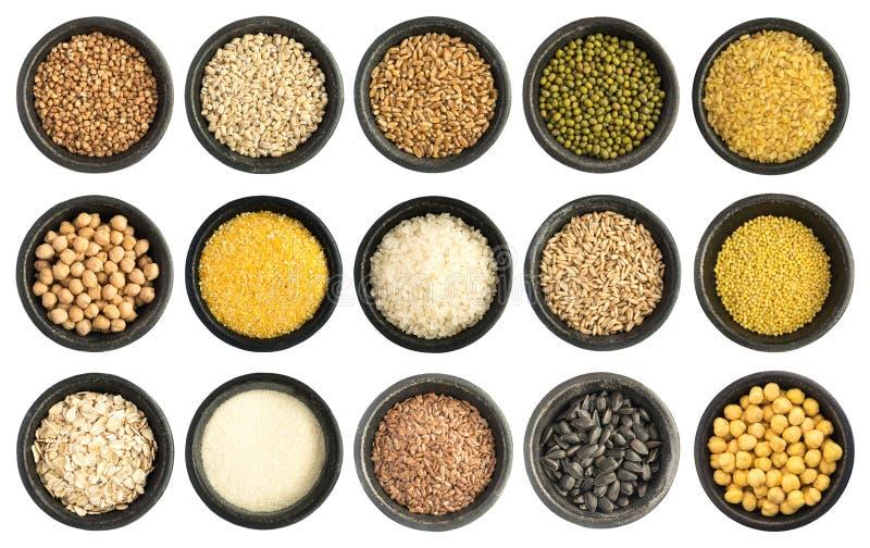 Collection de céréales et de graines d'isolement photos libres de droits
