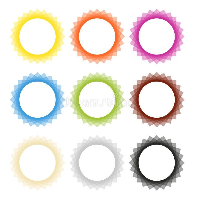 Collection de 9 cadres dans des couleurs solides illustration libre de droits