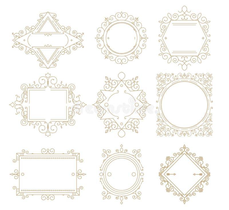 Collection de cadres de classique de vintage Placez les cadres pour votre texte o illustration libre de droits