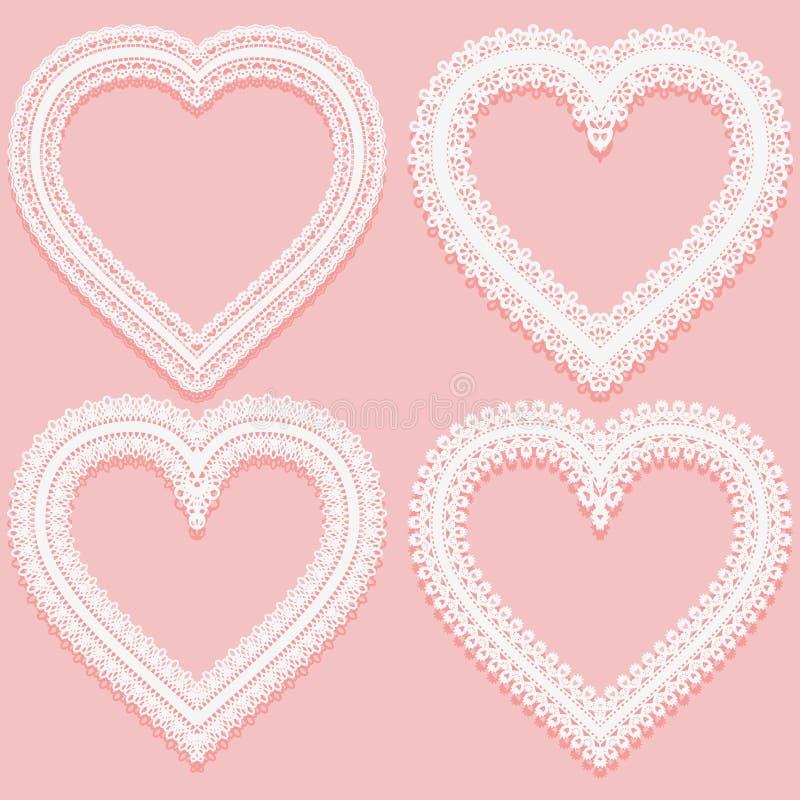 Collection de cadres de dentelle blancs sous forme de coeur Éléments à jour de vintage d'isolement sur un fond rose illustration libre de droits