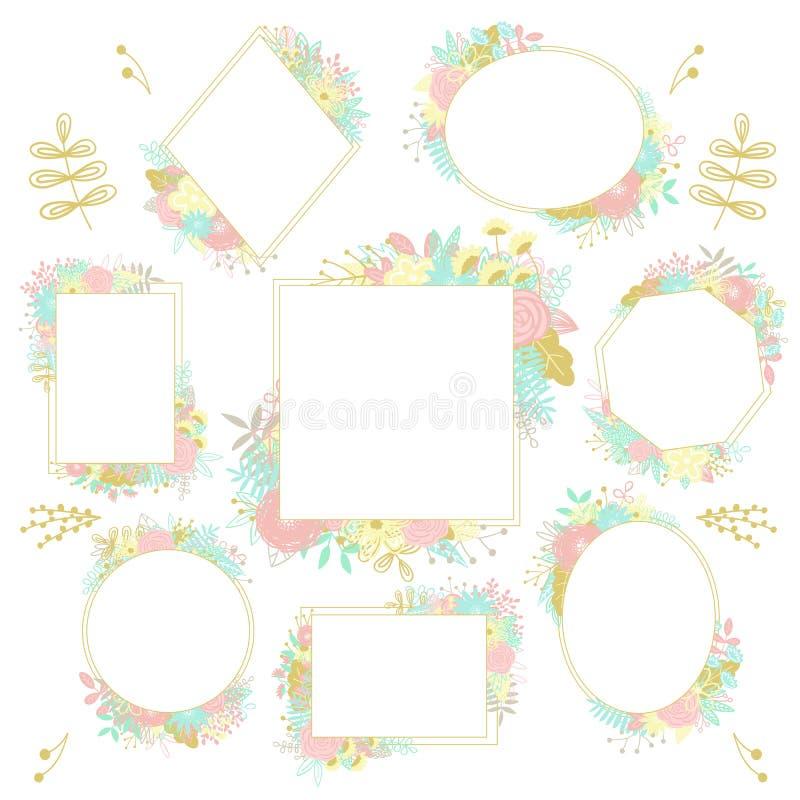 Collection de cadres de différentes formes, décorés des motifs floraux Image de vecteur des éléments floraux tirés par la main au illustration de vecteur