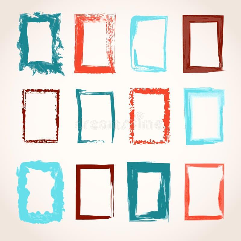 Collection de cadres tirés par la main de rectangle illustration libre de droits