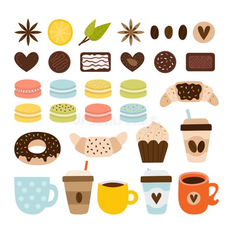 Collection de caf? et de th? Ic?nes de caf? Placez des symboles, des objets et des ?l?ments de th? Macarons, chocolat, croissant, illustration de vecteur