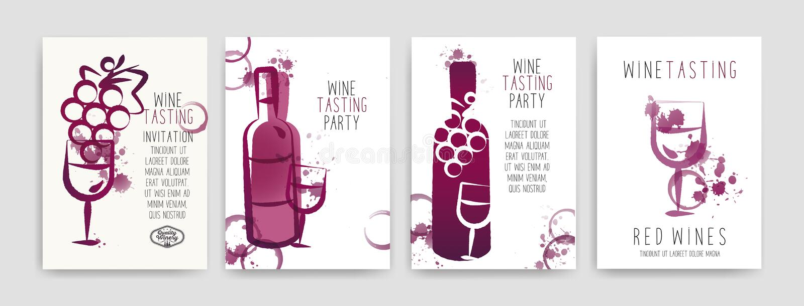 Collection de calibres avec des conceptions de vin Brochures, affiches, cartes d'invitation, bannières de promotion, menus Taches illustration libre de droits