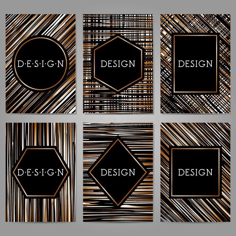 Collection de 6 calibres de carte de vintage dans des couleurs noires et blanches illustration libre de droits