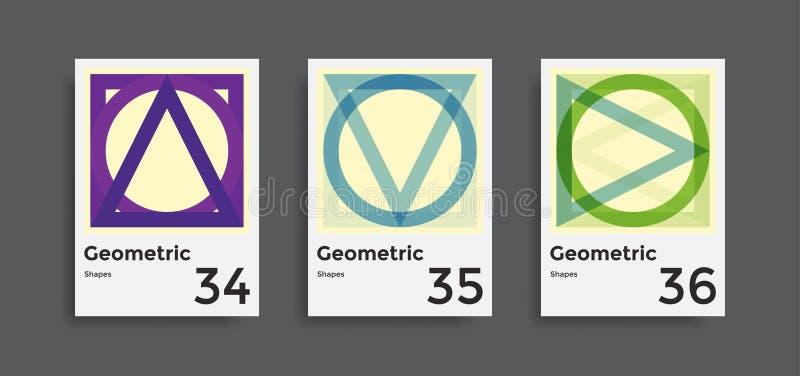 Collection de calibres d'excédents avec les éléments géométriques graphiques de formes illustration stock