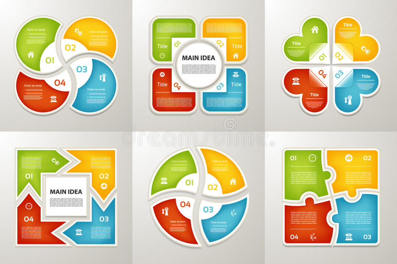 Collection de calibres d'Infographic pour des affaires Quatre étapes faisant un cycle des diagrammes Illustration de vecteur illustration libre de droits