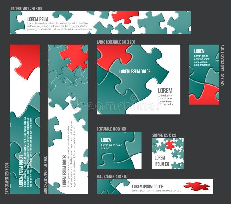 Collection de calibres de bannière avec le fond abstrait de puzzle illustration stock