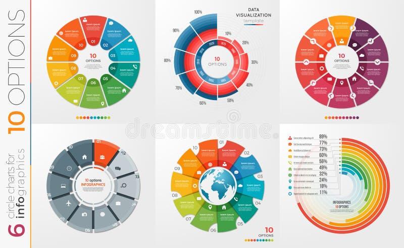 Collection de 6 calibres de diagramme de cercle de vecteur 10 options illustration de vecteur