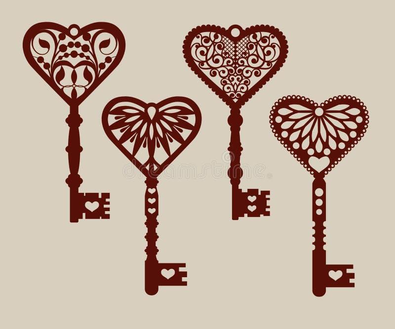 Collection de calibres des clés décoratives illustration de vecteur