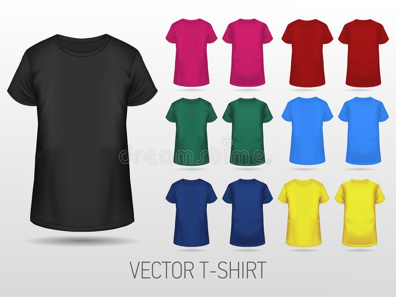 Collection de calibres de T-shirt de différentes couleurs illustration libre de droits