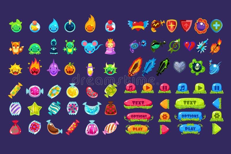 Collection de capitaux colorés d'interface utilisateurs pour des applis ou des jeux vidéo mobiles, créatures drôles, animaux, bon illustration de vecteur