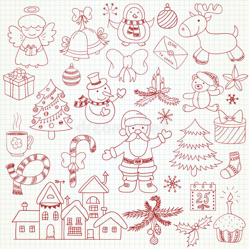 Collection de caractères de Noël de vecteur illustration libre de droits