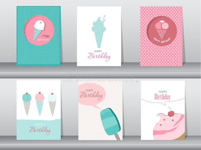 Collection de carte de salutation et d'invitation, anniversaire, vacances, Noël, crème glacée, bonbon, été, cadeau, bande dessiné illustration libre de droits