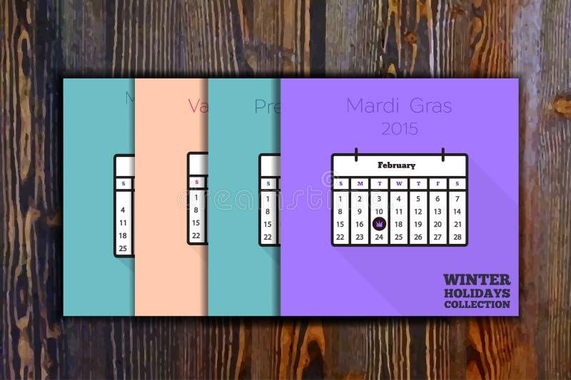 Collection de carte de vacances d'hiver illustration stock