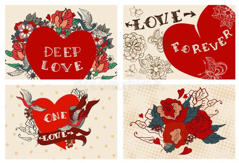 Collection de cartes avec des fleurs pour la conception de Valentine illustration de vecteur