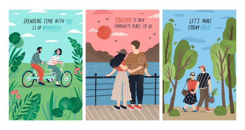 Collection de cartes avec les couples romantiques mignons la date montant la bicyclette tandem, coucher du soleil de observation, illustration de vecteur