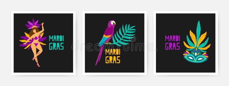 Collection de cartes carrées de Mardi Gras décorées par le perroquet exotique se reposant sur la branche de l'arbre tropical, dan illustration libre de droits
