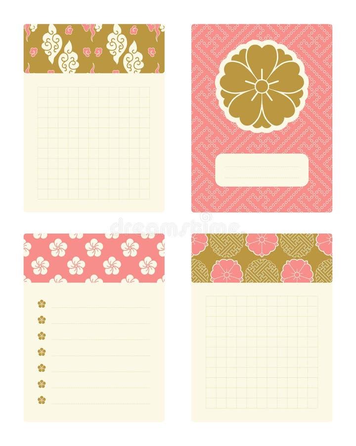 Collection de cartes et de notes avec les illustrations japonaises d'ornement illustration stock
