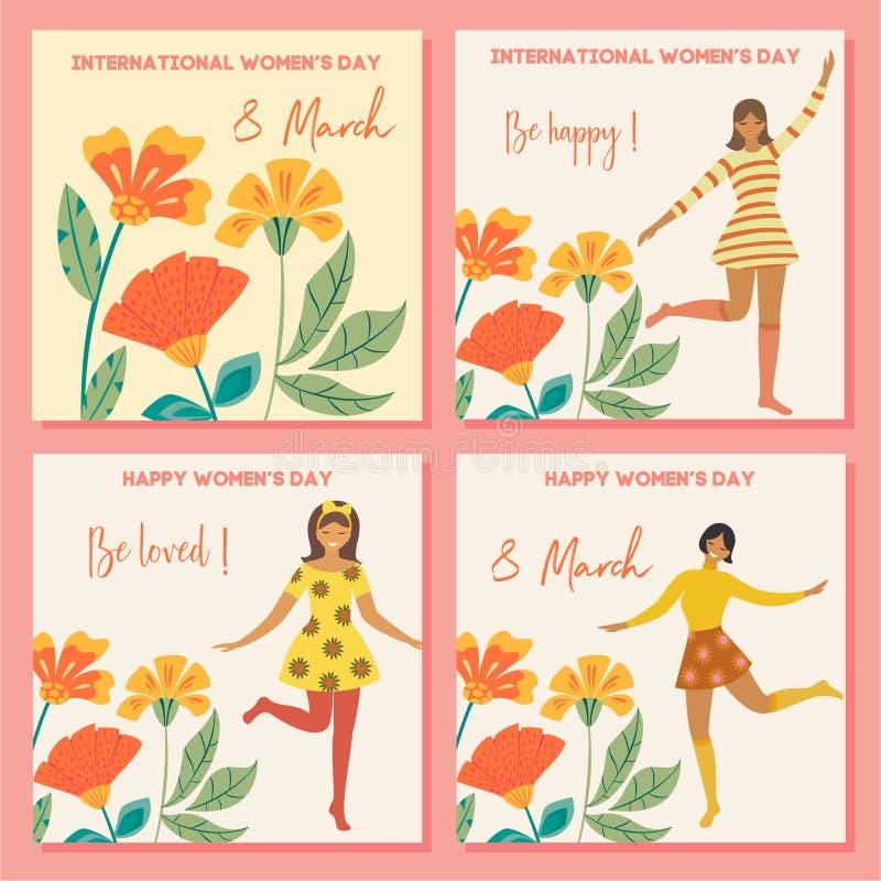 Collection de cartes de ressort Jour international du ` s de femmes Calibre de cru de vecteur avec la fille et les fleurs de dans illustration stock