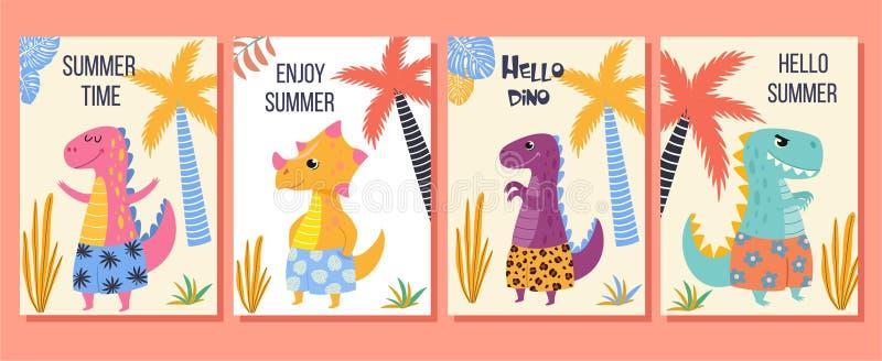 Collection de cartes tropicales avec les dinosaures mignons d'une bande dessinée dans des shorts de plage Illustration de vecteur illustration de vecteur