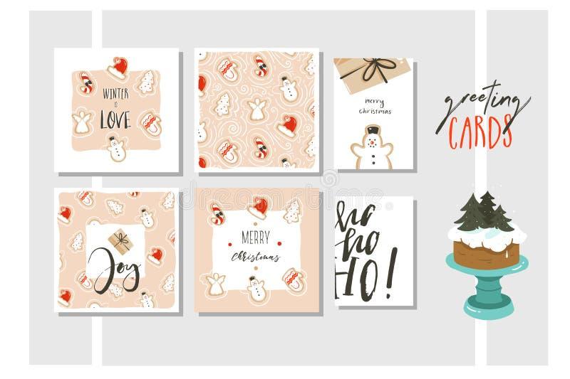 Collection de cartes de voeux d'illustration de bande dessinée de temps de Joyeux Noël et de bonne année vecteur d'amusement tiré illustration de vecteur