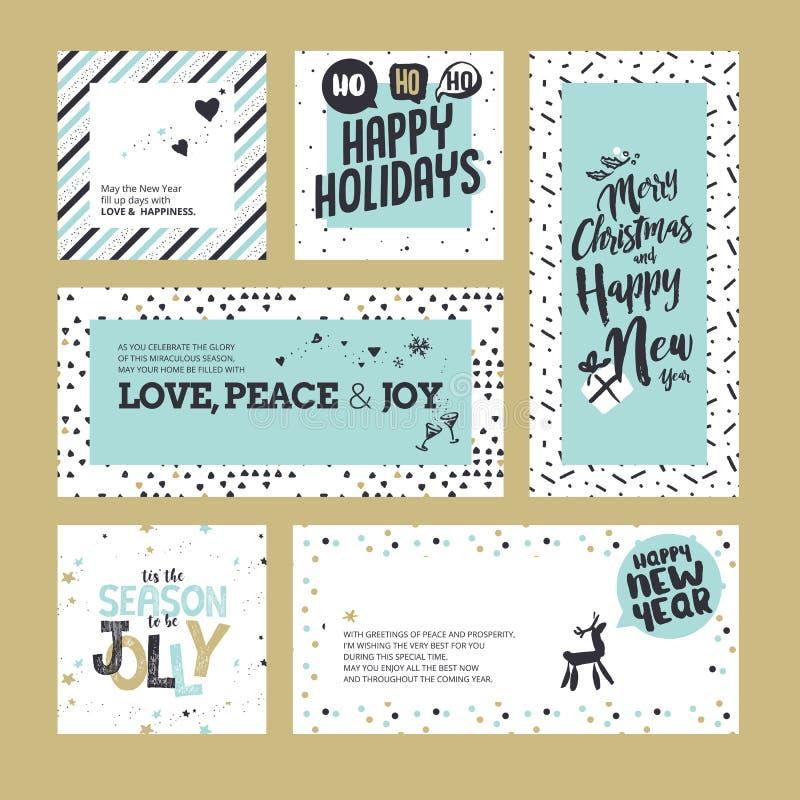 Collection de cartes de voeux de Noël et de nouvelle année illustration de vecteur