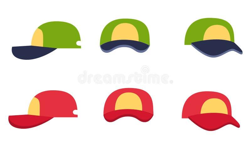 Collection de casquette de baseball, avant, dos et vue de côté illustration stock