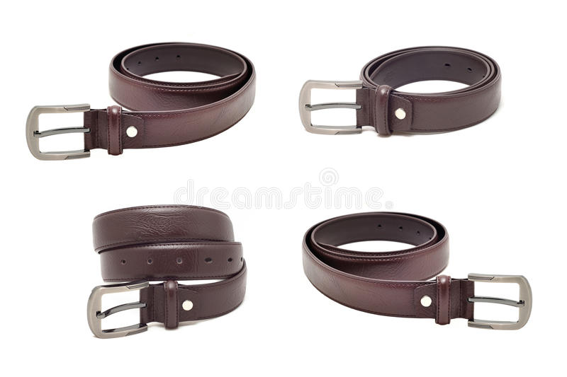 Collection de ceinture en cuir d'isolement sur le fond blanc photos stock