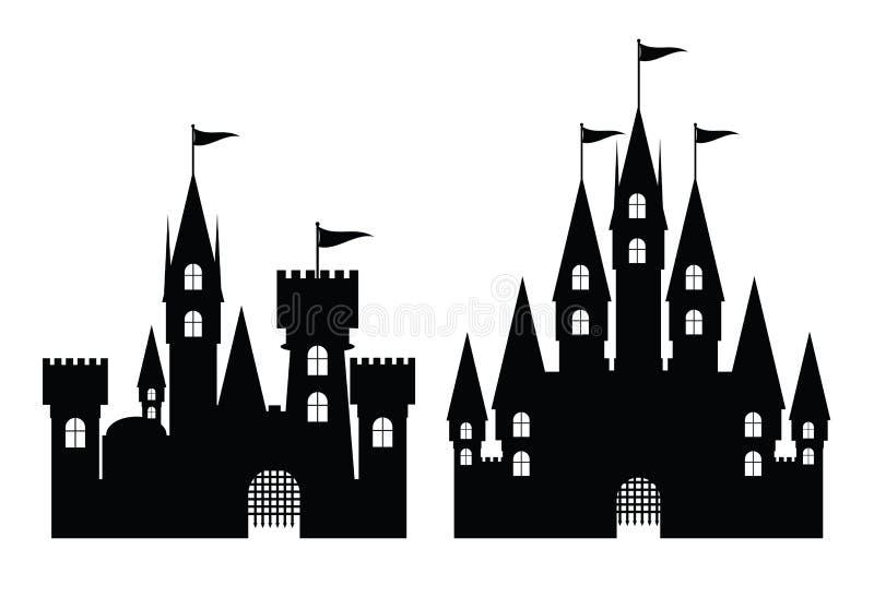 Collection de château d'isolement sur le blanc,  illustration stock
