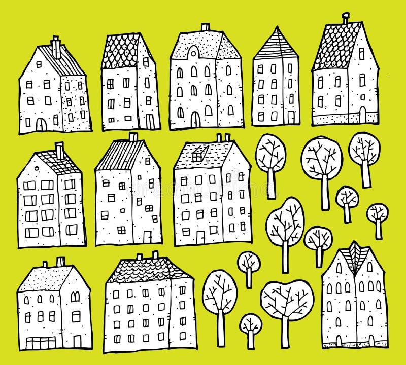 Collection de Chambres et d'arbres illustration stock