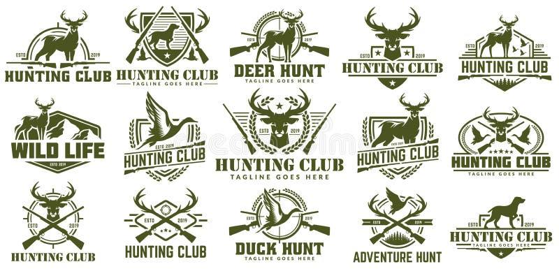 Collection de chasser le logo, l'ensemble de vecteur de label de chasse, l'insigne ou le logo de chasse à emblème, à canard et à  illustration de vecteur