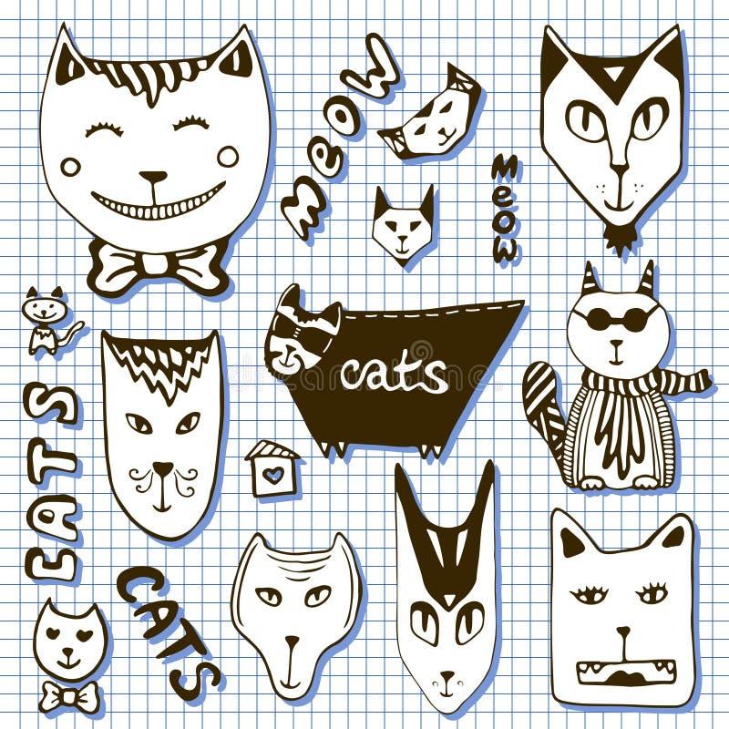 Collection de chats de griffonnage Visages tirés par la main de bande dessinée illustration de vecteur