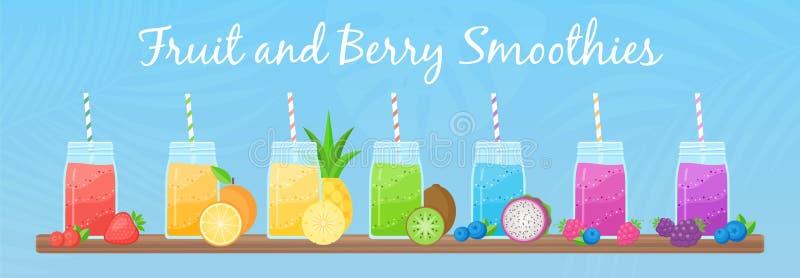 Collection de cocktail de secousse de smoothie de Vegeterian illustration de vecteur