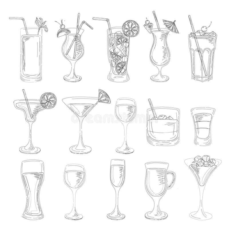Collection de cocktails Ensemble de vecteur illustration libre de droits