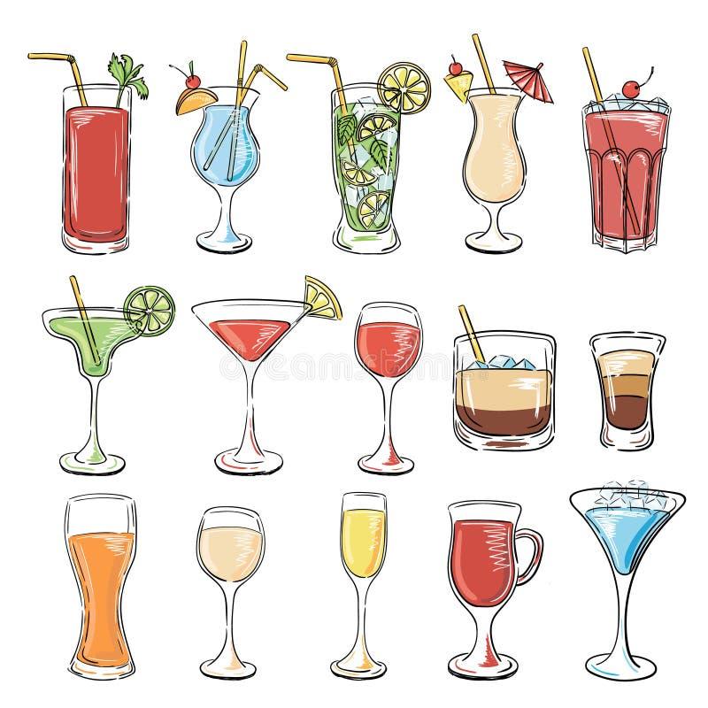 Collection de cocktails Ensemble de vecteur illustration stock