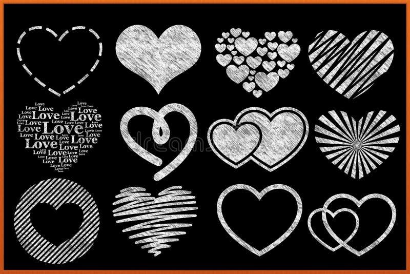 Collection de coeur de tableau illustration stock