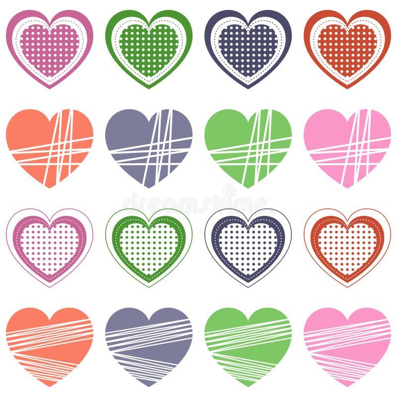 Collection de coeurs de jour de Valentine s rétro illustration stock