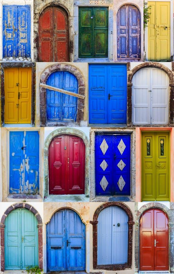 Collection de collage d'entrées principales colorées des maisons de Santor photos libres de droits