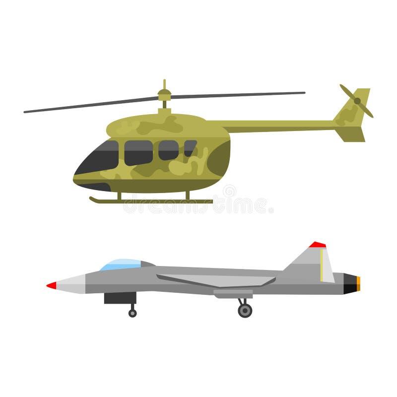 Collection de combat de vecteur de la défense d'armure de technique d'industrie de technique d'armée de guerre d'air de transport illustration libre de droits